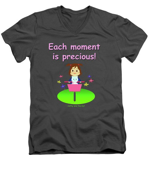 Cathy And The Cat Enjoy Each Moment Men's V-Neck T-Shirt