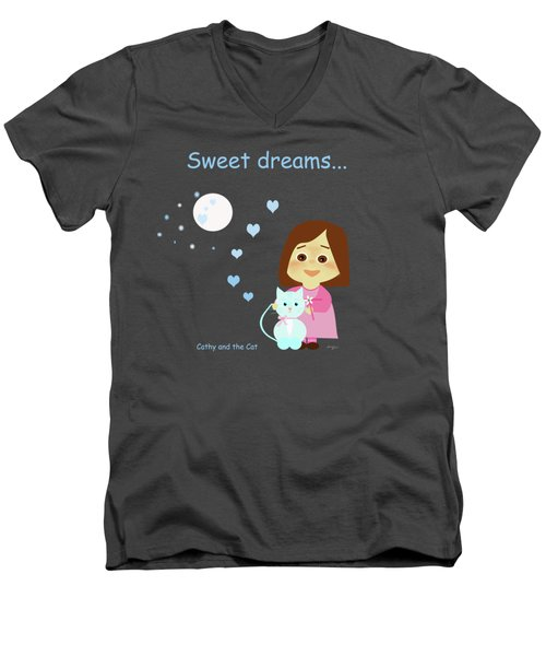 Cathy And The Cat Sweet Dreams Men's V-Neck T-Shirt