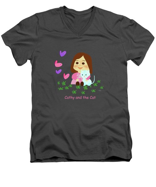 Cathy And The Cat With Butterflies  Men's V-Neck T-Shirt