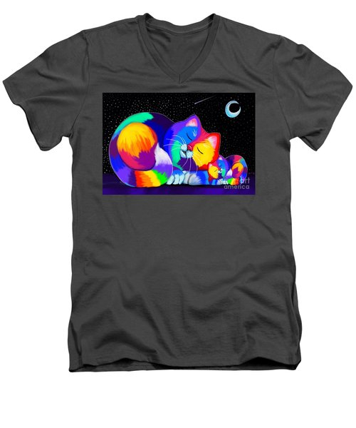 Men's V-Neck T-Shirt featuring the drawing Catnaps For Two by Nick Gustafson