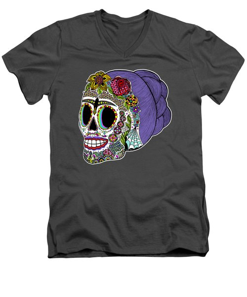 Catrina Sugar Skull Men's V-Neck T-Shirt