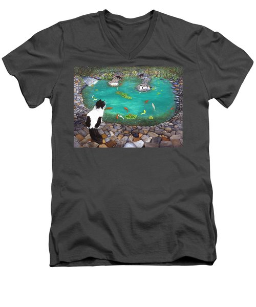 Cats And Koi Men's V-Neck T-Shirt