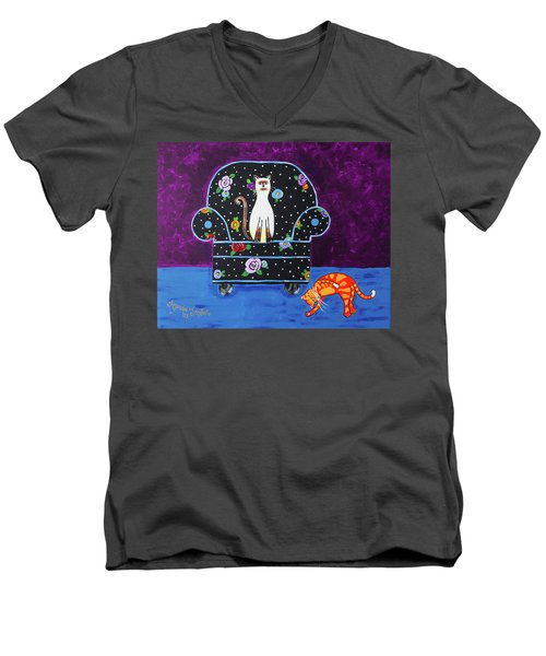 Cats Just Wanna Have Fun Men's V-Neck T-Shirt