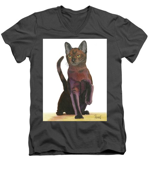 Men's V-Neck T-Shirt featuring the painting Cats Meow by Ferrel Cordle