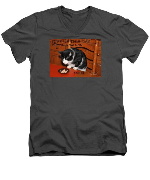 Cat's Prayer Revisited By Teddy The Ninja Cat Men's V-Neck T-Shirt by Reb Frost