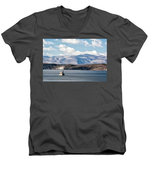 Catskill Mountains With Lighthouse Men's V-Neck T-Shirt