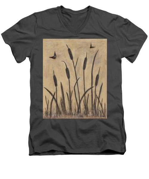 Cattails 2 Men's V-Neck T-Shirt by Trish Toro