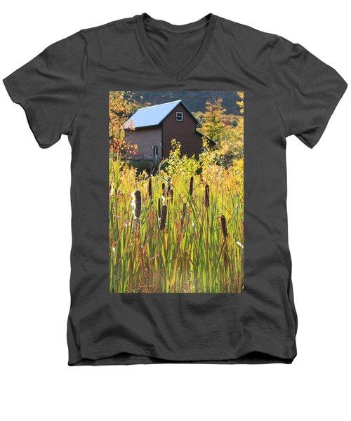 Cattails And Barn Men's V-Neck T-Shirt by Roupen  Baker