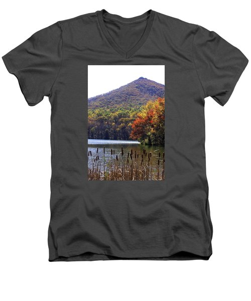 Cattails By Lake With Sharp Top In Background Men's V-Neck T-Shirt by Emanuel Tanjala