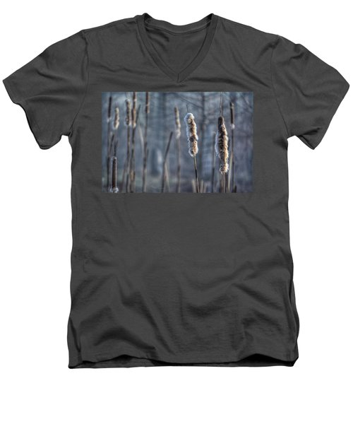 Men's V-Neck T-Shirt featuring the photograph Cattails In The Winter by Sumoflam Photography