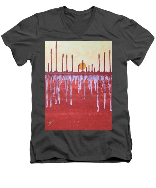 Cattails Original Painting Sold Men's V-Neck T-Shirt by Sol Luckman
