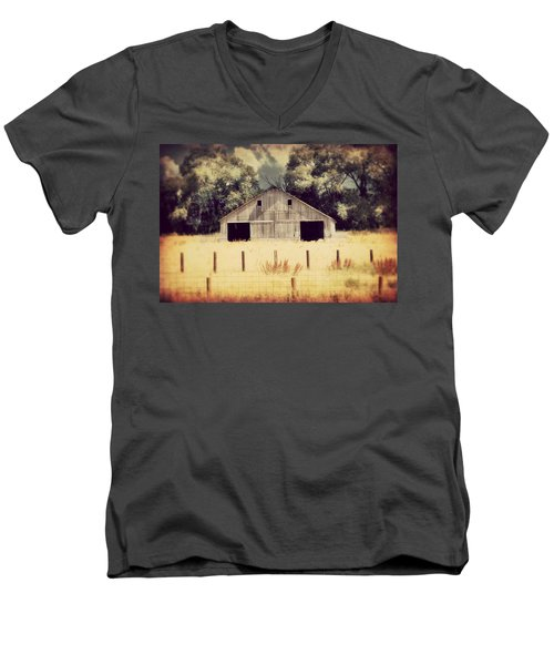 Men's V-Neck T-Shirt featuring the photograph Hwy 3 Barn by Julie Hamilton