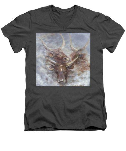 Cattle In The Mist Men's V-Neck T-Shirt