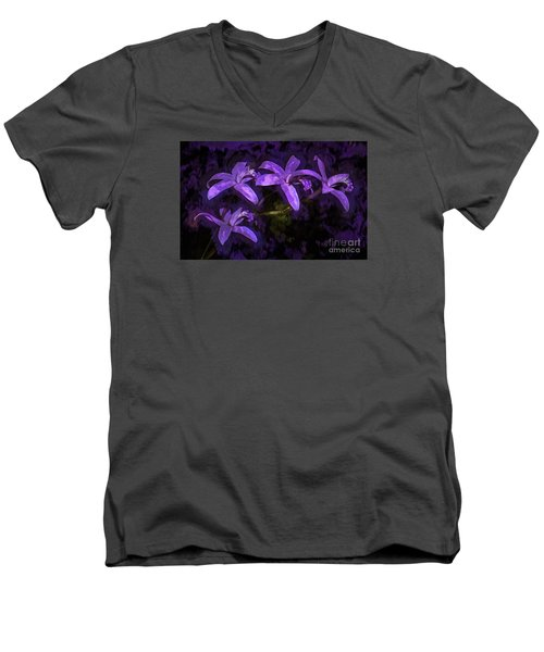 Cattleya Orchid Flower Men's V-Neck T-Shirt by Suzanne Handel