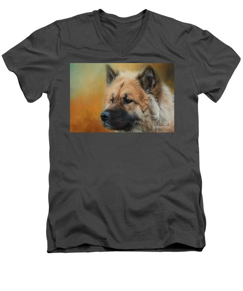 Caucasian Shepherd Dog Men's V-Neck T-Shirt by Eva Lechner