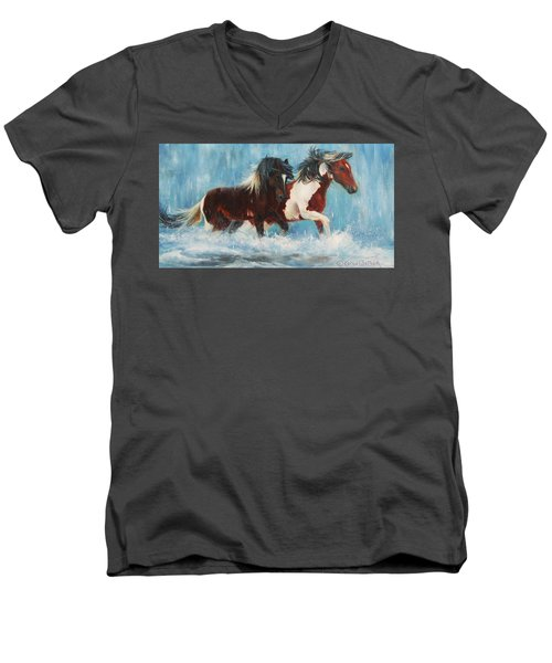 Caught In The Rain  Close Up Men's V-Neck T-Shirt
