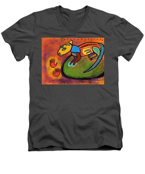 Cave Rat Men's V-Neck T-Shirt by Hans Magden