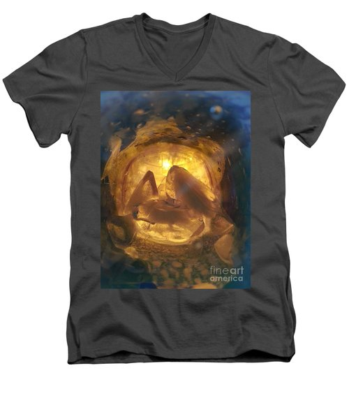 Men's V-Neck T-Shirt featuring the photograph Cavern Light by Steed Edwards