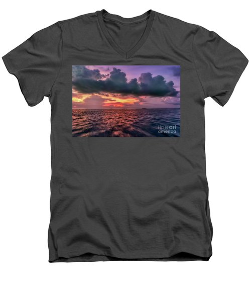 Men's V-Neck T-Shirt featuring the photograph Cebu Straits Sunset by Adrian Evans