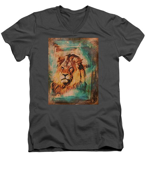 Men's V-Neck T-Shirt featuring the digital art Cecil The Lion by Kathy Kelly