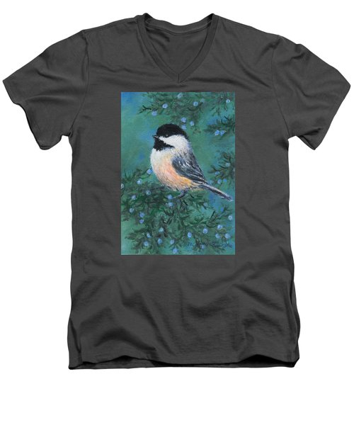Men's V-Neck T-Shirt featuring the painting Cedar Chickadee 2 by Kathleen McDermott