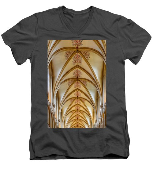 Men's V-Neck T-Shirt featuring the photograph Ceiling, Wells Cathedral. by Colin Rayner