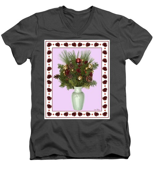 Celadon Vase With Christmas Bouquet Men's V-Neck T-Shirt by Lise Winne