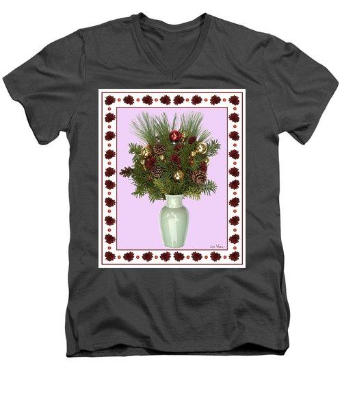 Celadon Vase With Christmas Bouquet Men's V-Neck T-Shirt