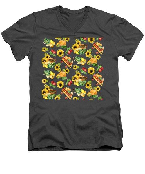 Celebrate Abundance Harvest Half Drop Repeat Men's V-Neck T-Shirt