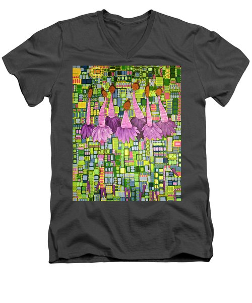 Men's V-Neck T-Shirt featuring the painting Celebrate by Donna Howard
