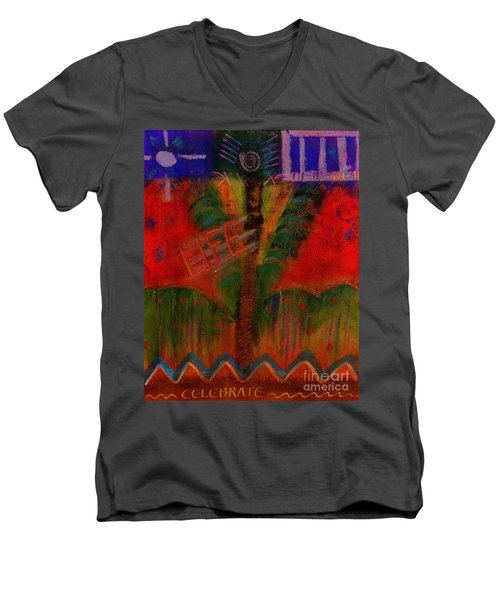 Men's V-Neck T-Shirt featuring the painting Celebrate Life by Angela L Walker