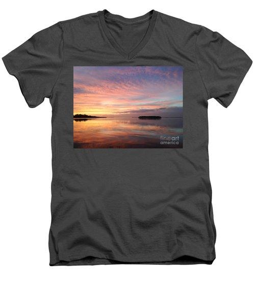 Celebrating Sunset In Key Largo Men's V-Neck T-Shirt