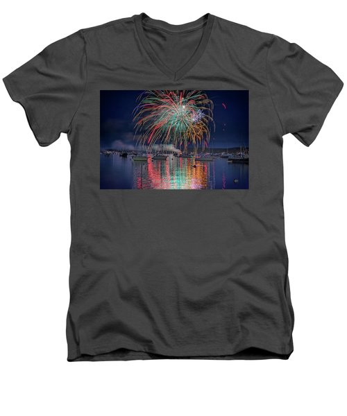 Men's V-Neck T-Shirt featuring the photograph Celebration In Boothbay Harbor by Rick Berk