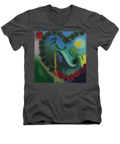 Men's V-Neck T-Shirt featuring the painting Celebration Of Love  by Tone Aanderaa