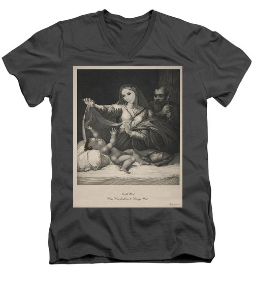 Celebrity Etchings - North Kim And Kanye Men's V-Neck T-Shirt by Serge Averbukh