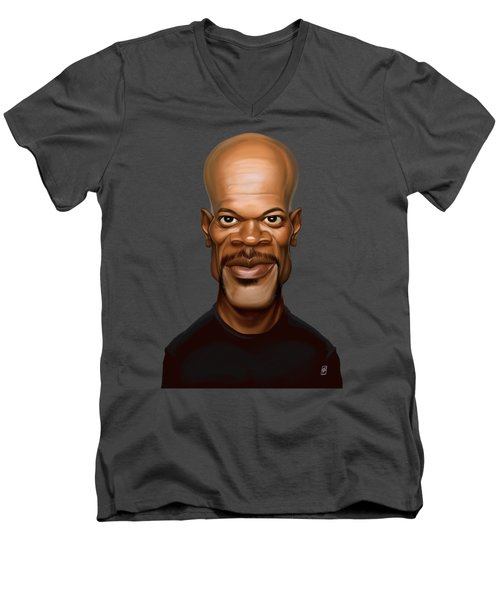 Men's V-Neck T-Shirt featuring the drawing Celebrity Sunday - Samuel L Jackson by Rob Snow