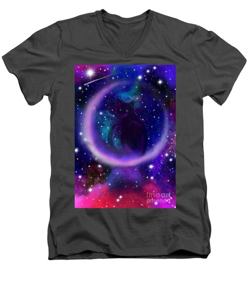 Men's V-Neck T-Shirt featuring the painting Celestial Crescent Moon Cat  by Nick Gustafson
