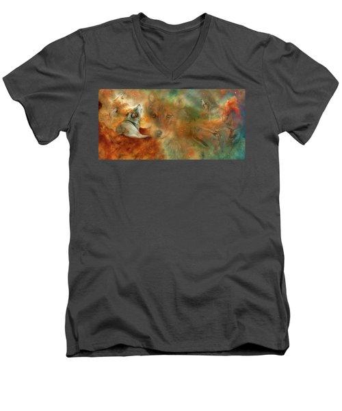 Men's V-Neck T-Shirt featuring the mixed media Celestial Wolves by Carol Cavalaris