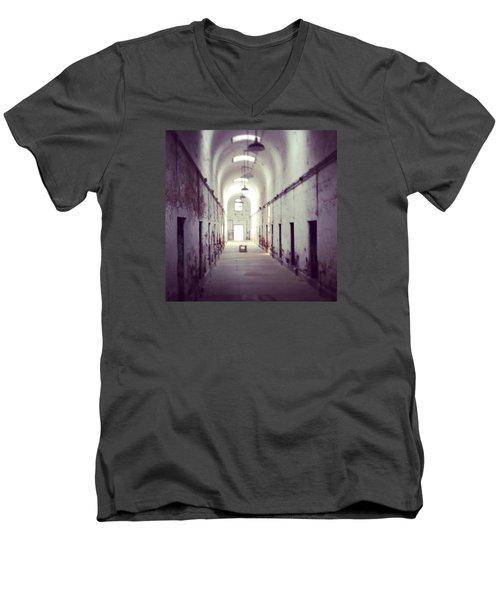 Cell Block Eastern State Penitentiary Men's V-Neck T-Shirt by Sharon Halteman