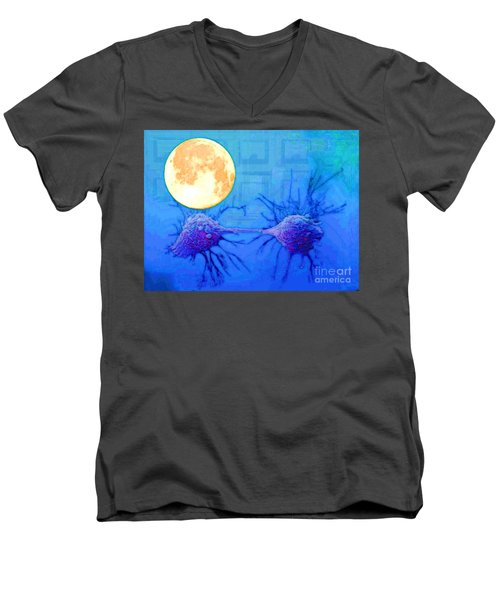 Cell Division Under Full Moon Men's V-Neck T-Shirt by Mojo Mendiola