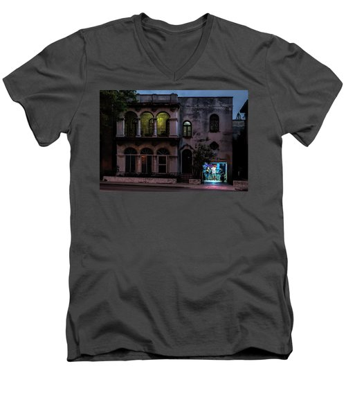 Men's V-Neck T-Shirt featuring the photograph Cell Phone Shop Havana Cuba by Charles Harden