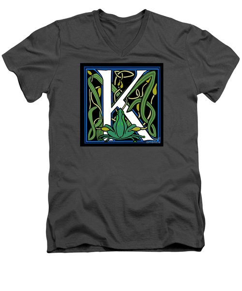 Celt Frog Letter K Men's V-Neck T-Shirt