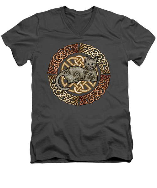 Men's V-Neck T-Shirt featuring the mixed media Celtic Cat by Kristen Fox