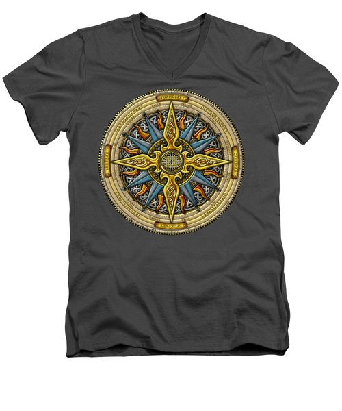 Men's V-Neck T-Shirt featuring the mixed media Celtic Compass by Kristen Fox