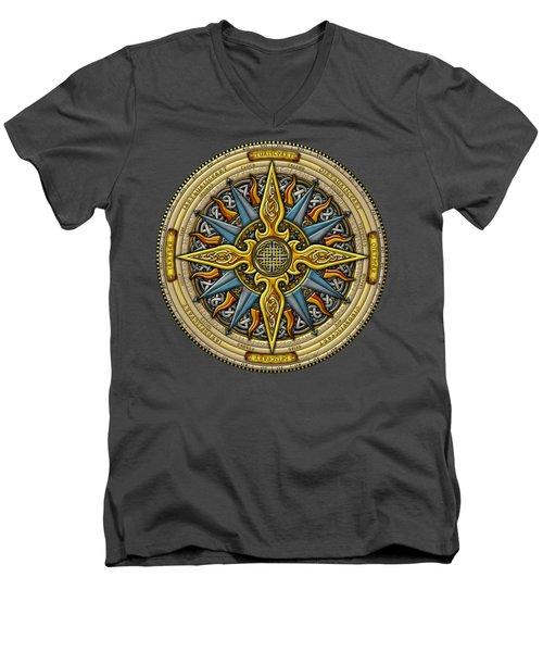 Celtic Compass Men's V-Neck T-Shirt by Kristen Fox