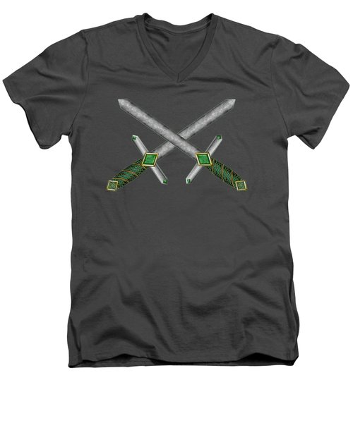 Men's V-Neck T-Shirt featuring the mixed media Celtic Daggers by Kristen Fox
