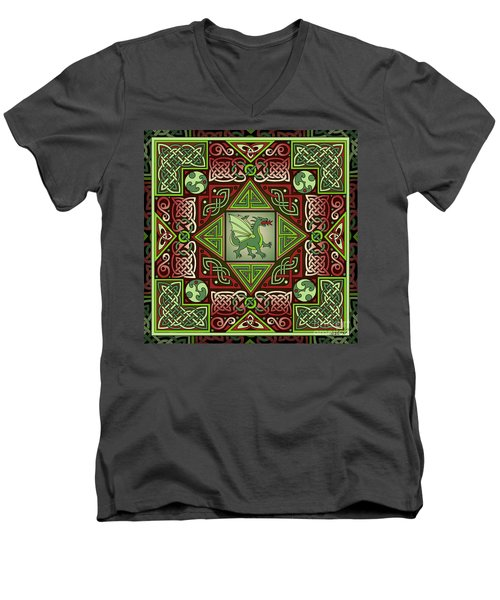 Men's V-Neck T-Shirt featuring the mixed media Celtic Dragon Labyrinth by Kristen Fox