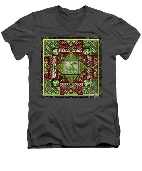 Celtic Dragon Labyrinth Men's V-Neck T-Shirt