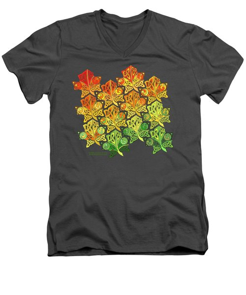 Men's V-Neck T-Shirt featuring the mixed media Celtic Leaf Transformation by Kristen Fox