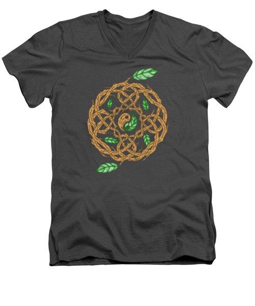 Celtic Nature Yin Yang Men's V-Neck T-Shirt by Kristen Fox